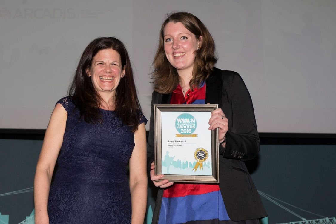 Georgina Ablett, Arcadis, receives a commendation in the Rising Star category of the Women in Construction awards